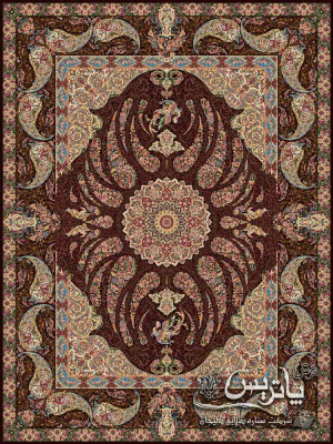 تصویر فرش سیمرغ بادمجانی ۱۲۰۰ شانه