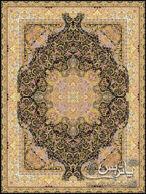 تصویر فرش زرین مشکی ۱۲۰۰ شانه