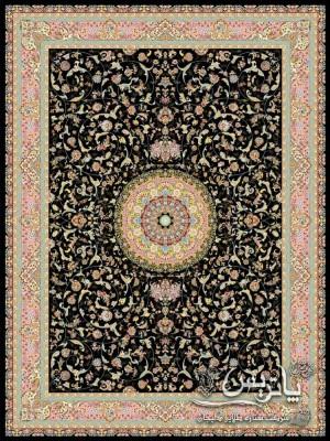 تصویر فرش ترمه مشکی ۱۲۰۰ شانه