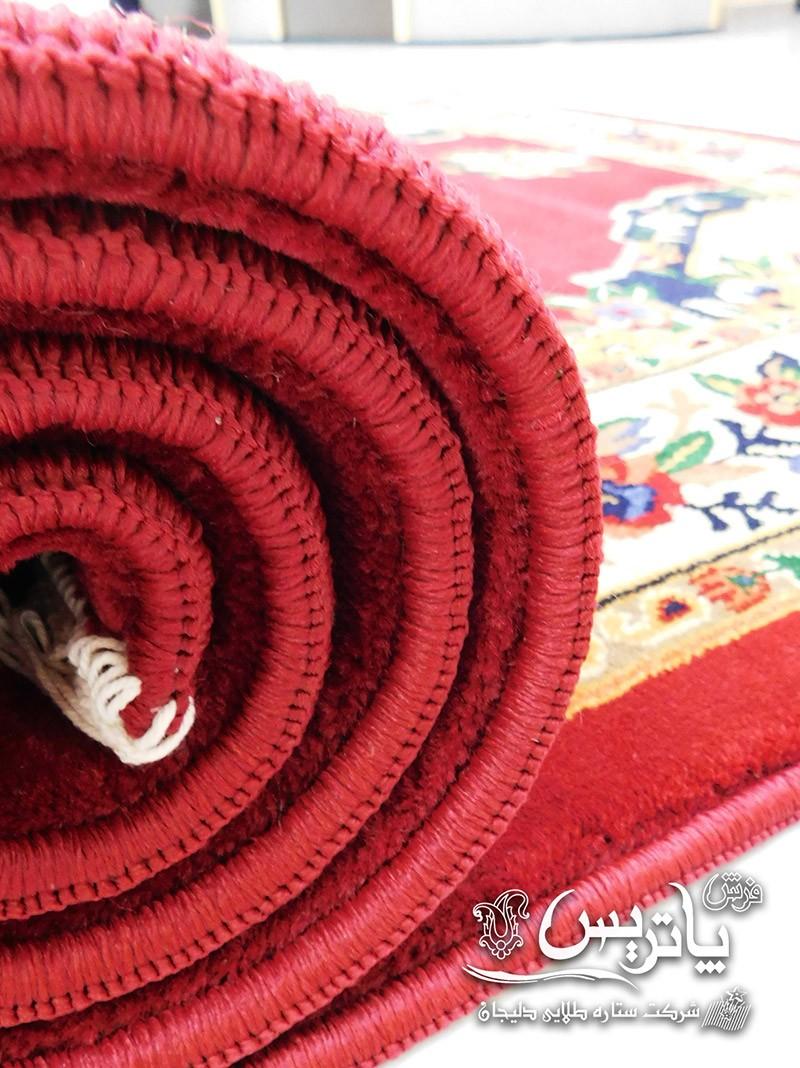 نمای لوله شده فرش گلیم گلاب عنابی ۴۰۰ شانه پاتریس